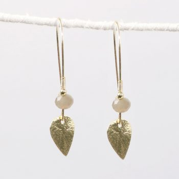 Leaf earring with cream bead | TradeAid