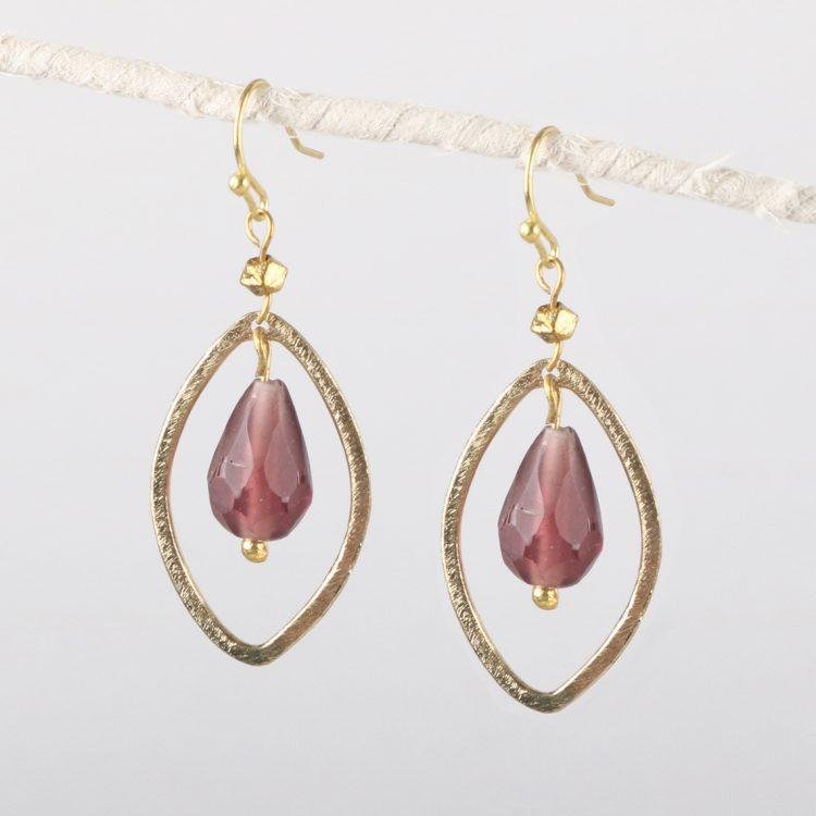 Maroon bead and loop earrings | TradeAid