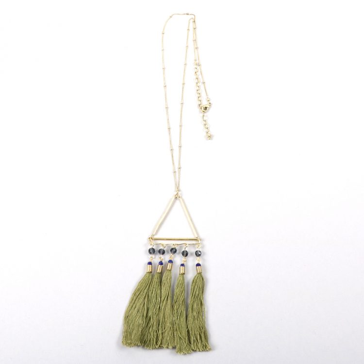 Green tassel necklace | Gallery 1 | TradeAid