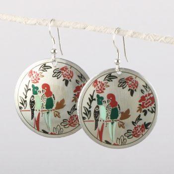 Enamel disc earrings with birds | TradeAid