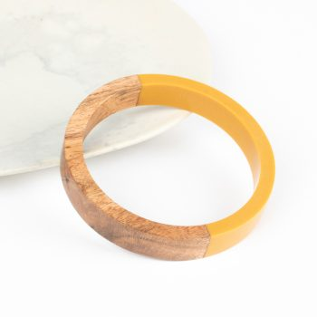 Yellow resin and wood bangle | TradeAid