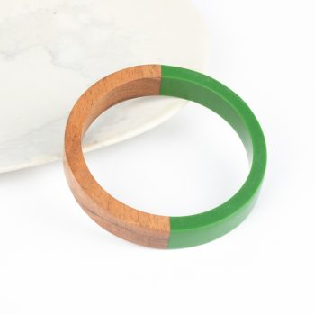Green resin and wood bangle | TradeAid