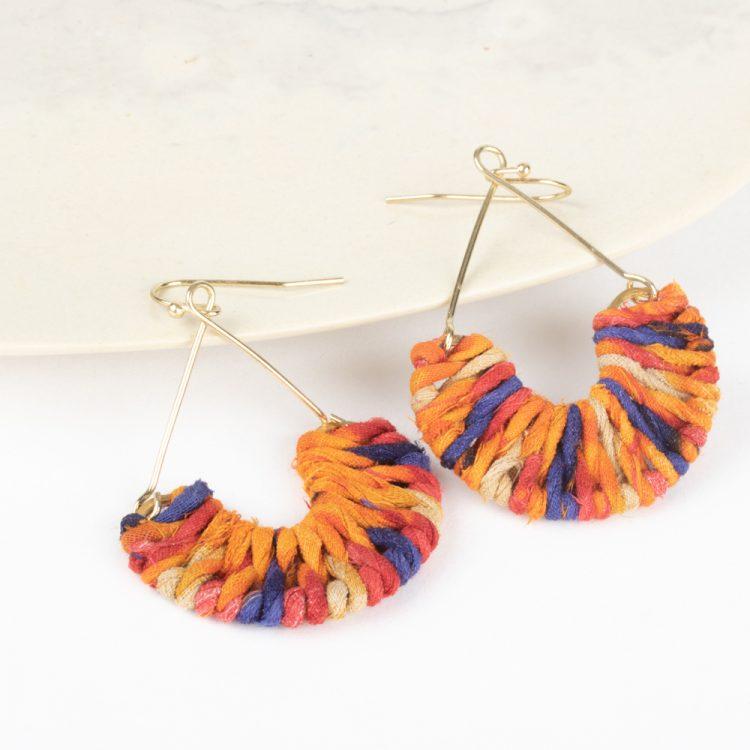 Semi circle sari earrings | TradeAid