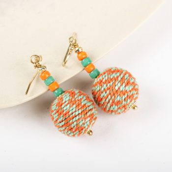 Orange and aqua thread earrings | TradeAid