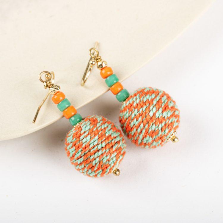 Orange and aqua thread earrings | TradeAid