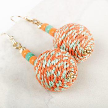 Orange and aqua thread earrings | Gallery 2 | TradeAid