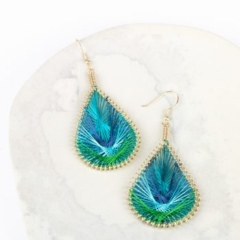 Peacock threadwork earrings | TradeAid
