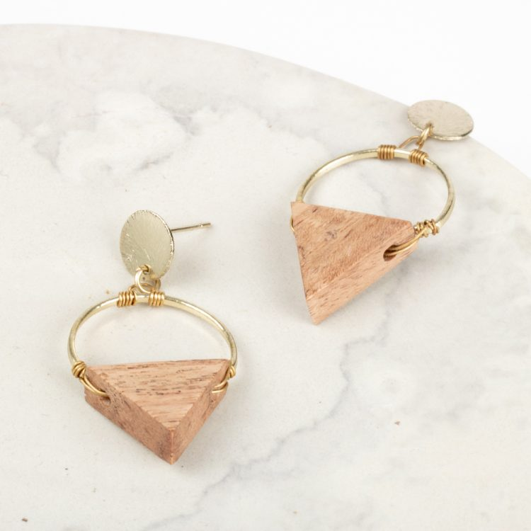 Wood triangle earrings | TradeAid