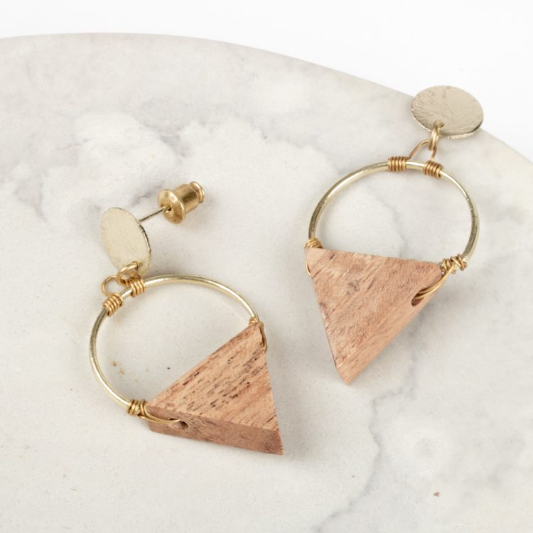 Wood triangle earrings | Gallery 1 | TradeAid