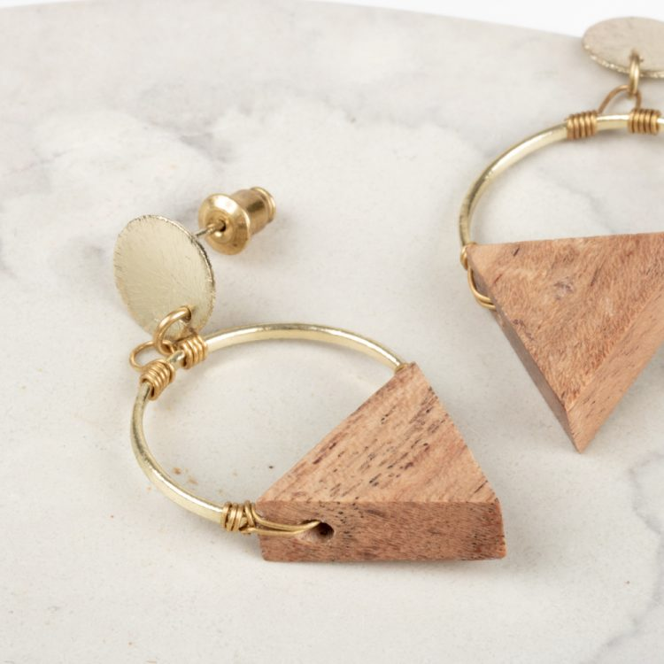 Wood triangle earrings | Gallery 2 | TradeAid