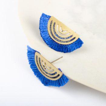 Blue fringe earrings | Gallery 2 | TradeAid