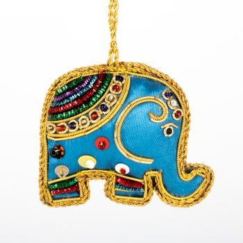 Blue zari elephant hanging | TradeAid