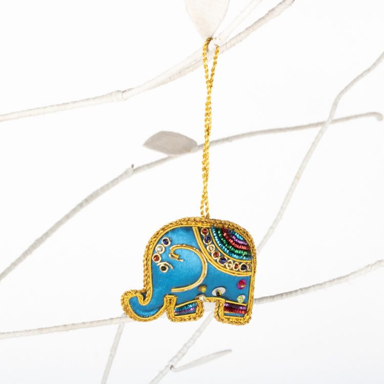 Blue zari elephant hanging | Gallery 1 | TradeAid