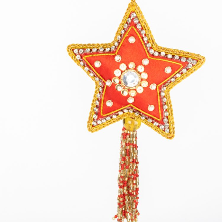 Zari embroidered red star   Gallery 2   TradeAid