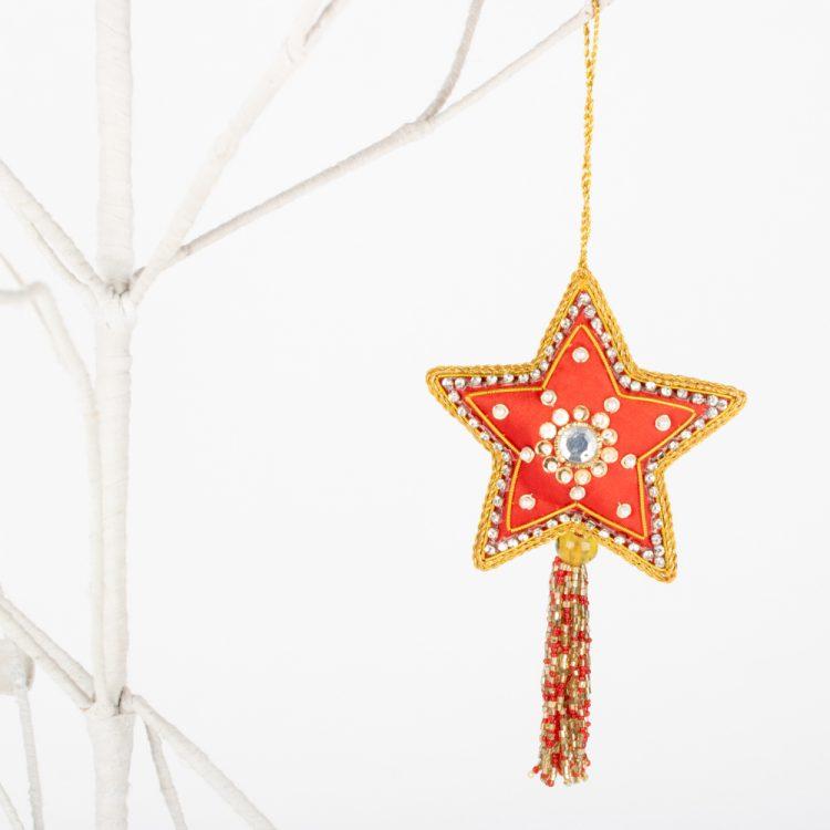 Zari embroidered red star   TradeAid