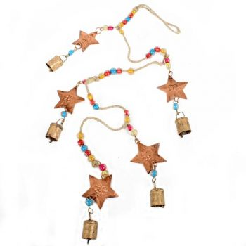 Jute thread hanging with copper coloured stars | TradeAid