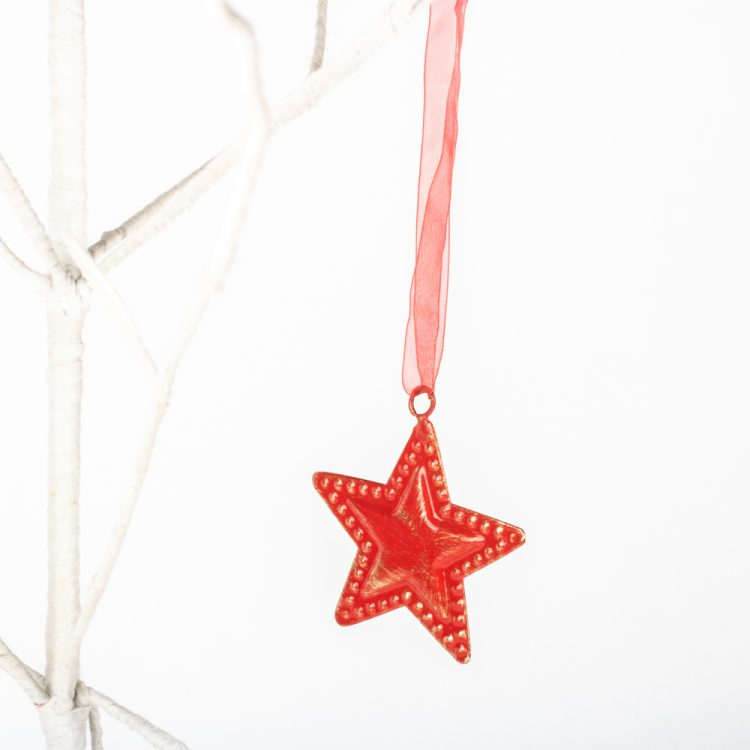 Red metal star hanging | Gallery 1 | TradeAid
