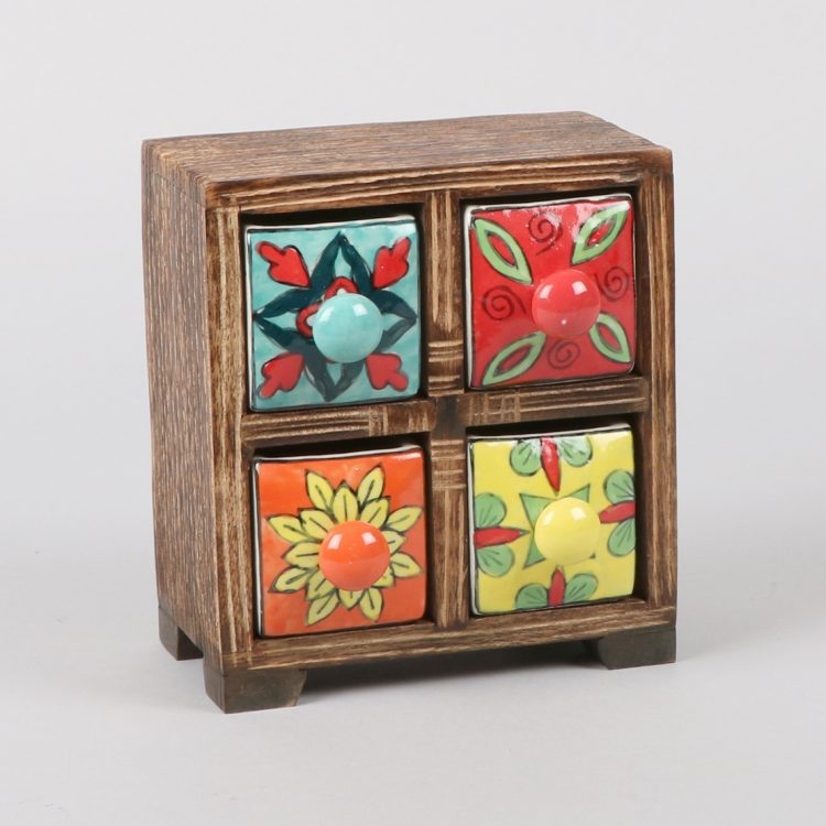 Wooden almirah with ceramic drawers | TradeAid