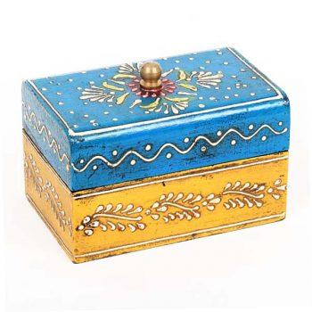 Blue and yellow painted mango wood box | TradeAid