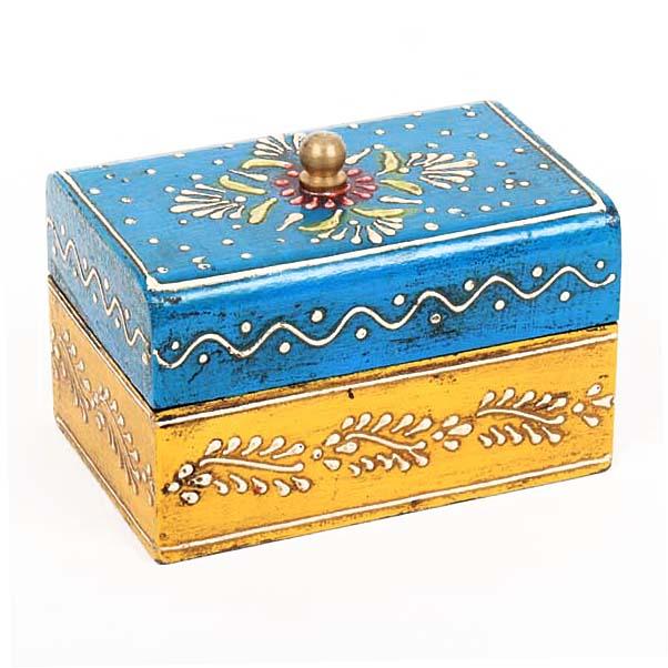 Blue and yellow painted mango wood box   TradeAid