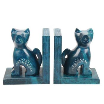 Turquoise cat bookends | TradeAid