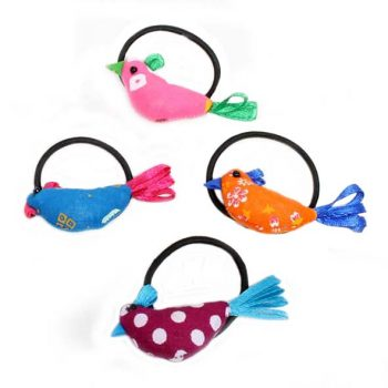 Set of 4 spotted bird hair ties | TradeAid