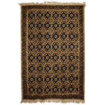 Medium black and gold geometric rug | TradeAid