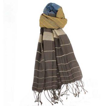 Striped woven organic cotton scarf | TradeAid