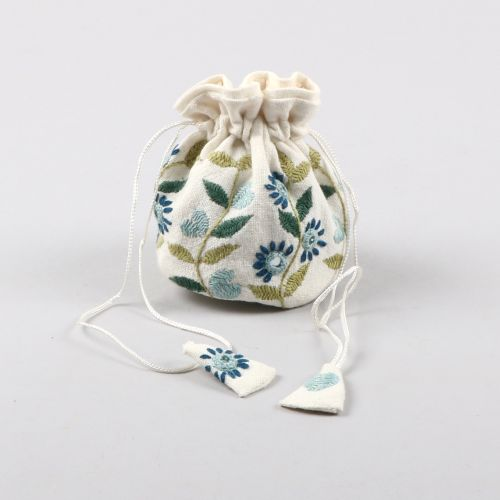 Blue embroidered jewellery pouch | TradeAid
