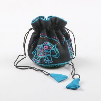Black jewellery pouch with elephant embroidery | TradeAid
