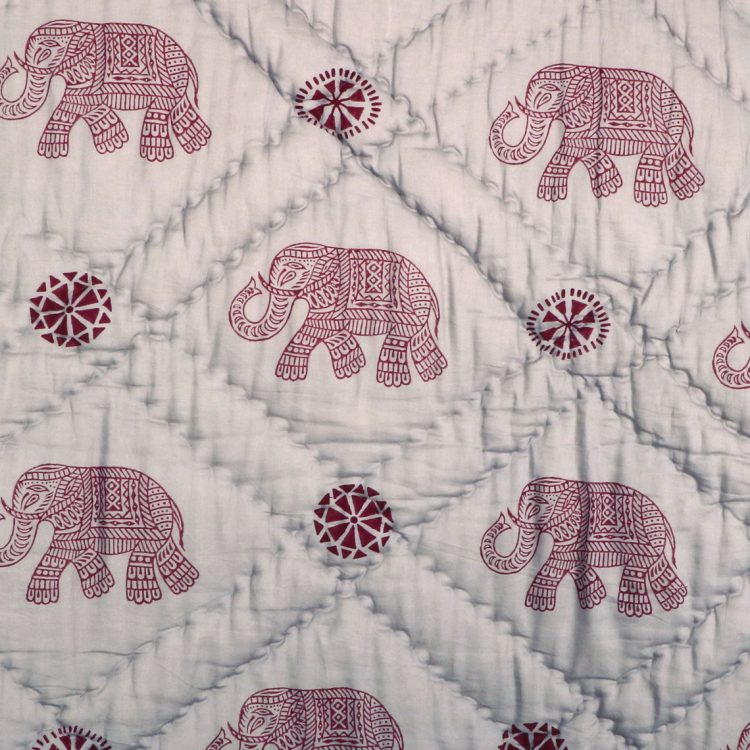 Queen quilt with elephant block print | Gallery 1 | TradeAid