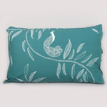 Leaf and peacock print pillowcase | TradeAid