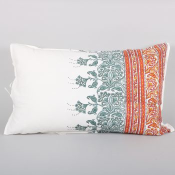Rust and teal ornate pillowcase | TradeAid