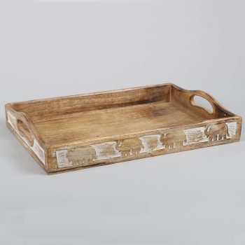 Mango wood tray with elephants | Gallery 1 | TradeAid