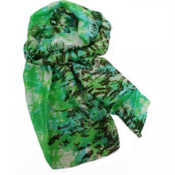 Green and blue patterned silk scarf | TradeAid