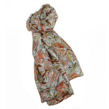 Sage silk floral scarf | TradeAid