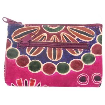 Purple shanti leather coin purse | TradeAid