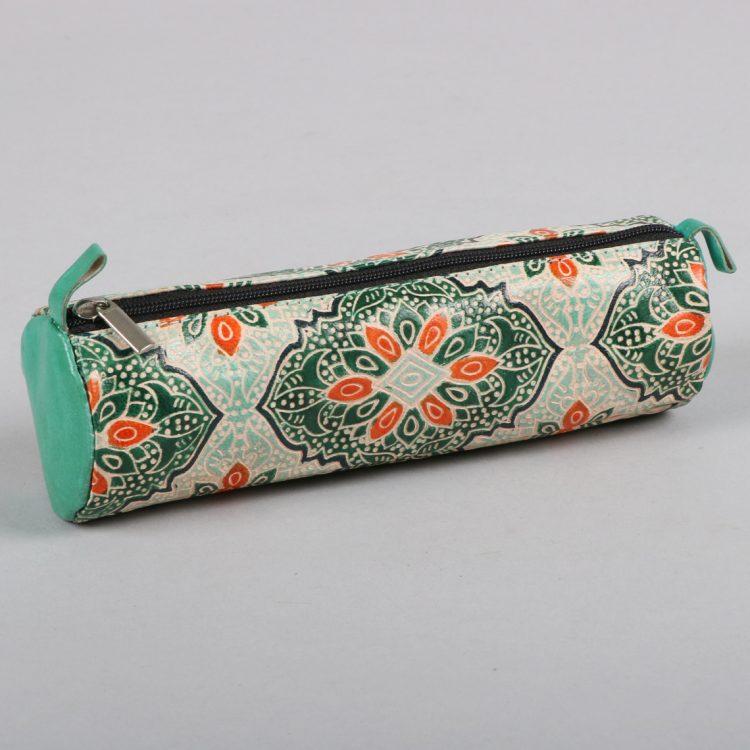 Green and orange shanti leather pencil case | TradeAid