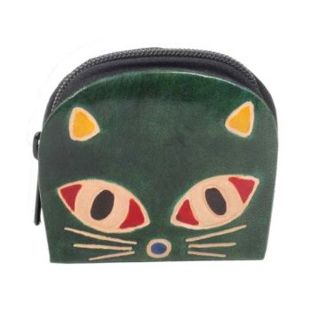 Green leather cat design purse | TradeAid