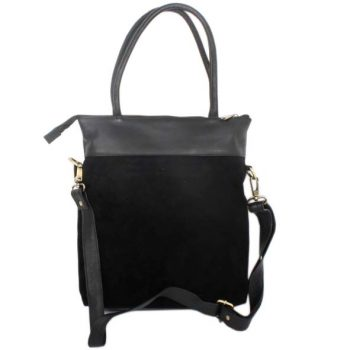 Black suede and leather shoulder bag | TradeAid