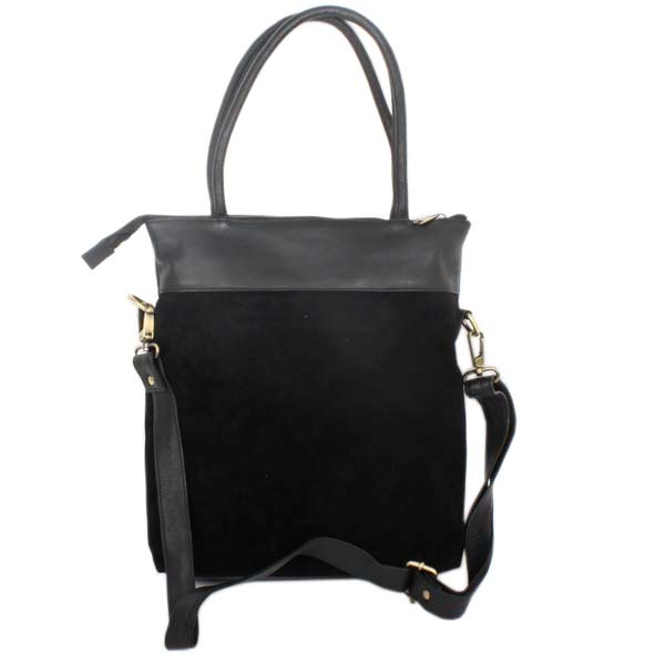 Black suede and leather shoulder bag | Gallery 1 | TradeAid