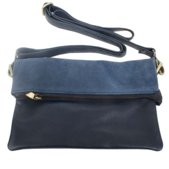 Blue suede and leather shoulder bag | Gallery 2 | TradeAid
