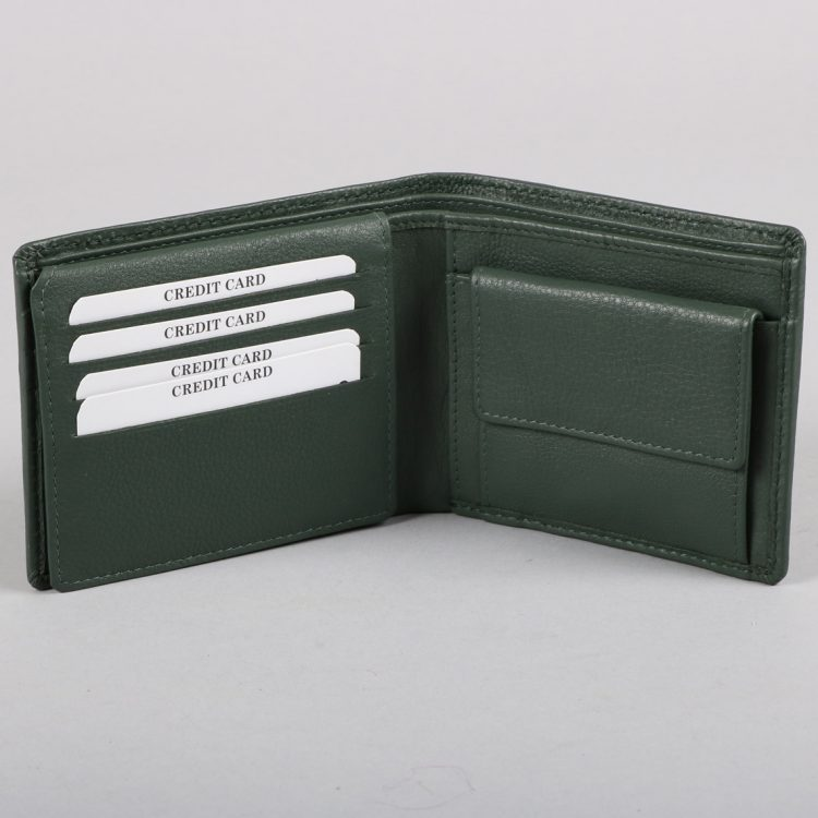Green leather stitch design wallet | Gallery 1 | TradeAid