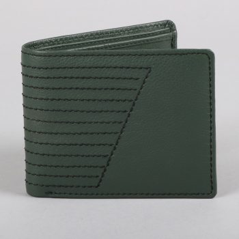 Green leather stitch design wallet | TradeAid