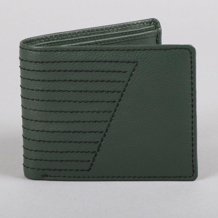 Green leather stitch design wallet | TradeAid