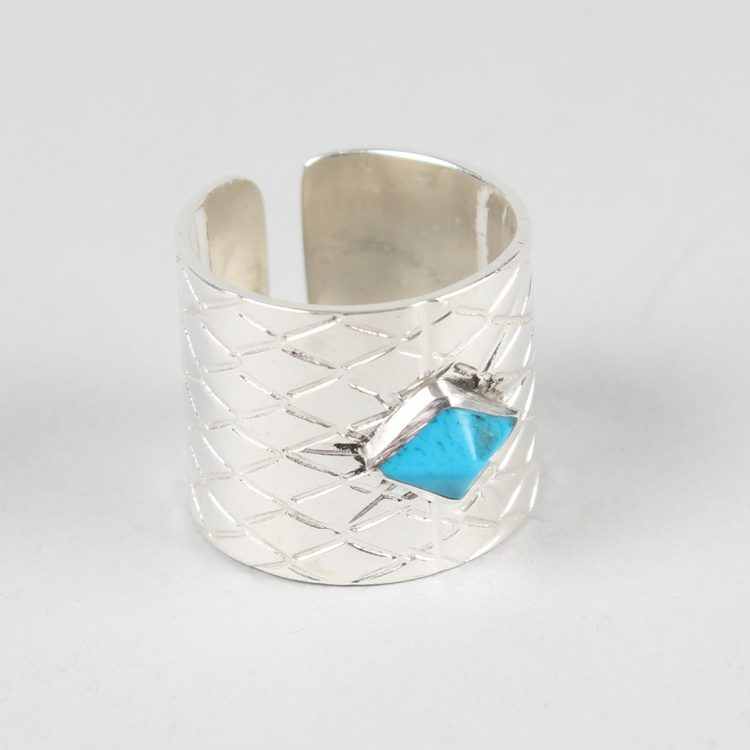 Silver plated ring with turquoise stone   TradeAid