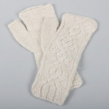 Alpaca cable knit fingerless gloves | TradeAid