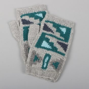 Alpaca mix fingerless gloves with geometric design | TradeAid