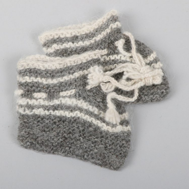 Baby's white and grey striped alpaca booties | TradeAid