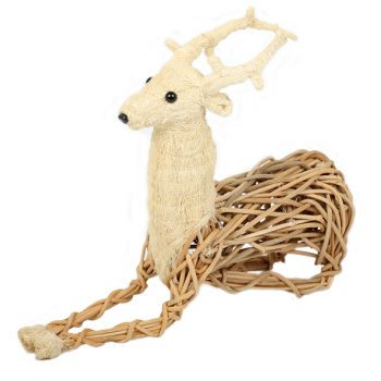 Coco fibre and wicker sitting reindeer | TradeAid
